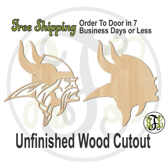 Viking Head Outline or Solid - 60633 or 35 - Sport Cutout, unfinished, wood cutout, wood craft, laser cut shape, wood cut out, Door Hanger