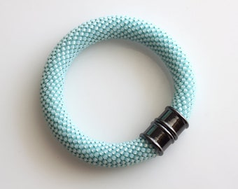 Bead Crochet Bracelet - Pale Blue Bracelet - Trendy Jewelry - Bangle Bracelet - Bead Crochet Jewelry - Statement Bracelet - Crochet Jewelry