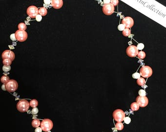 Lt. Coral glass pearl necklace