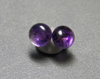 10mm Amethyst Gemstone Post Earrings with Sterling Silver
