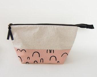 Pink and Linen Medium Zipper Pouch