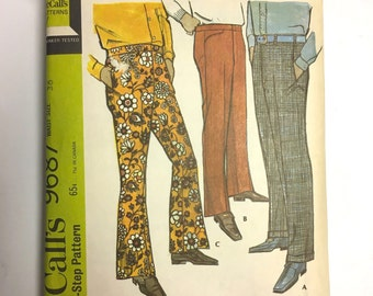Vintage Sewing Pattern Men's 60's Partially Uncut, McCall's 9867, Pants (Size: 36)