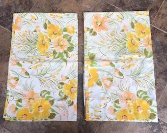 Vintage 1970s Yellow Orange Floral Pillowcases Set!