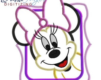 Minnie Frame - 4x4, 5x7, 6x10 and 9x8 in 9 formats - Applique - Instant Download - David Taylor Digitizing