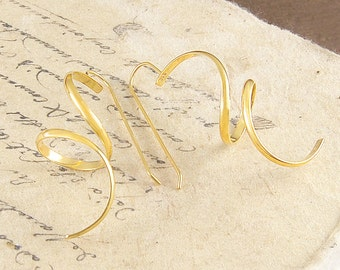 Gold Dangle Earrings, Statement Earrings, Gold Drops, Gold Dangly Earrings, Long Earrings, Curly Earrings, Wire Earrings, Designer Earrings