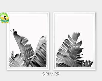 Black and White Banana Leaves Set of 2 Prints, Banana Leaf Tropical Foliage Botanical Wall Art Digital Download Print Set Leaves Poster