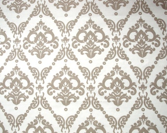 Fabric white beige brown Damask flower pattern Cotton Fabric House textilies Fabric Scandinavian Design Scandinavian Textile