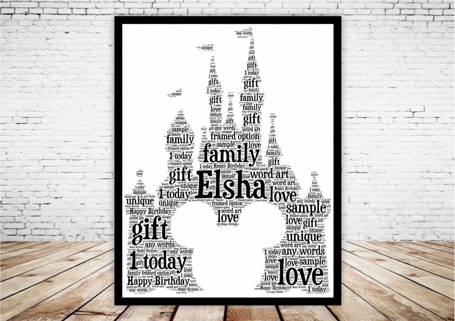 Personalised Word Art Gift Framed Disney Castle Mickey Mouse