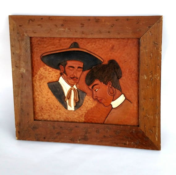 Vintage Hand Tooled Leather Framed Wall Hanging with Mexican Couple