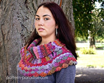 Crochet Pattern Cowl Scarf Poncho, Waves of Warmth PDF 16-243