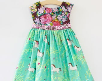 CHARLOTTE'S PONY Floral Dress, Vintage Floral Dress, Girls Birthday Dress, Teal Pink Dress Floral Dress for Girls  2T, 3/4T, 5/6, 7/8