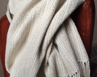 Silk Shawl, Hand Woven Wrap, Raw Silk Noil in Neutrals, Handwoven Long Shawl