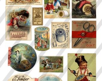 Digital Collage Sheet Vintage Sewing Ephemera Images (Sheet no. O145) Instant Download