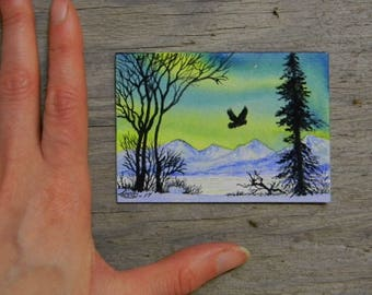 Original ACEO - Flight of the Owl - Watercolor Painting - 2.5 by 3.5 inches