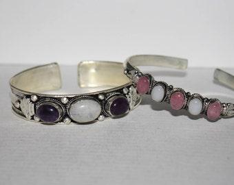 Moonstone bracelet, Amethyst bracelet, Rose quartz Bracelet, boho bracelet, gypsy bracelet, tribal bracelet, bohemian bracelet