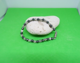 Silver plated beads and Hematite bracelet