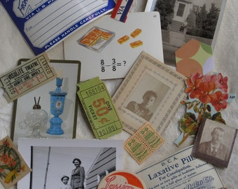 19 Piece Small Antique Paper Ephemera Collection - Victorian, Edwardian, 20th Century - Vintage Supplies, Scrapbooking, Papercrafting