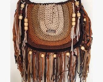Crochet Boho Crossbody Fringe Bag