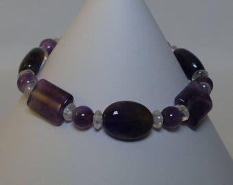 Amethyst & Quartz Bracelet with Toggle Clasp