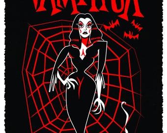 Vampira A3 limited edition horror art print by Chris Sick