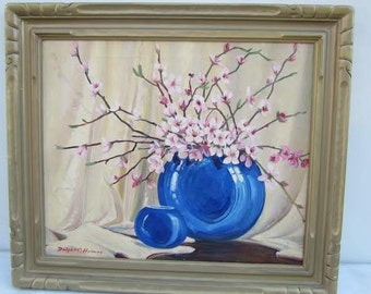 Dwight C. Holmes Texas Dogwood Floral Still Life Oil Painting Hill Country Listed Artist