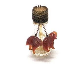 "Vintage Czechoslovakia Irice ""Stubby"" Miniature Perfume Bottle Dauber Pink Crystal Dangles 1920 to 1930"