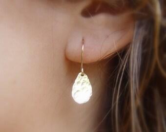Shiny Petal Teardrop Earrings, Gold Teardrop Earring, Hammered Gold Earrings