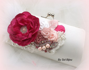 Vintage Style Wedding Clutch Bag in Fuchsia White and Pink, Elegant Wedding Handbag with Feathers and Satin