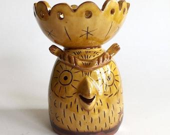 Slipware Pottery Owl Loose Change Pot