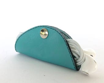 Cordelia Cord Wrap:  Two-tone leather wrap in Turquoise and Pale Blue