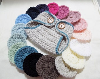 Newborn Diaper Cover crocheted in your favorite 1 or 2 colors with double wooden button closure.