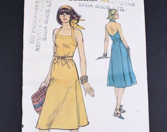 70's Vogue 9757 Sewing Pattern, Women's Halter Wrap Dress, Size 8 Extra Small