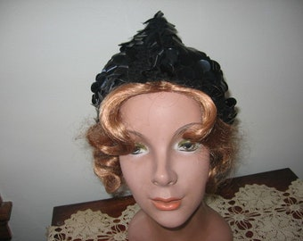 1960's Black Wool Knit Sequin Pixie Cap, Made in Italy