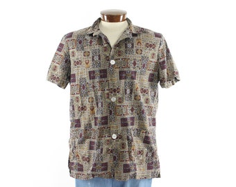 Vintage 60s Jantzen Shirt Button Up Short Sleeves Printed Mens Beach Casual Fashion 1960s Large L