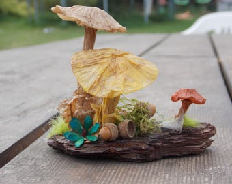 mushroom paper, forest atmosphere, decoration, centerpiece