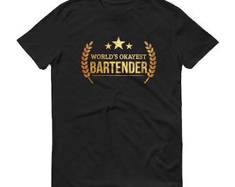 Bartender t-shirt, Men's World's Okayest Bartender t-shirt - mixologists funny gifts for bartender boyfriend