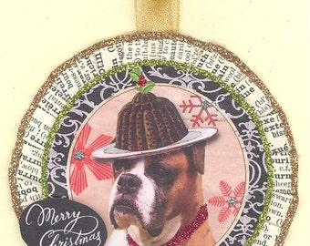 Boxer Dog  Christmas Ornament vintage style figgy pudding