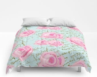 Comforter, Shabby Chic Pine Roses and French Script, twin, full/queen and King sizes