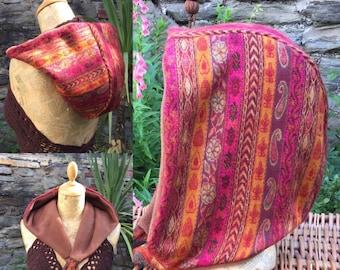 Pink And Orange Paisley Stripe Hood, Snood, Scoodie