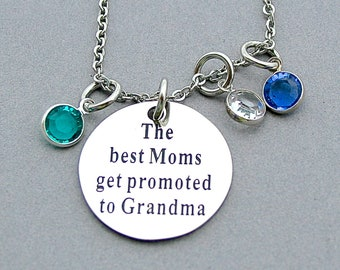 "Stainless Steel "" The Best Moms Get Promoted To Grandma "", Family Birthstone Necklace, Swarovski Birthstones, Mother's Day, Gift for Grandma"