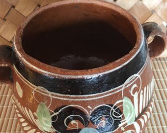 Antique Mexican red clay hand made bandara pottery floral vase or bowl, Tlaquepaque Folk art