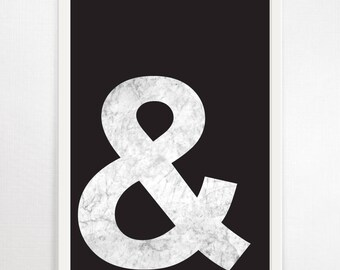 Ampersand, Typography Print, Minimalist Art, Typography Wall Art, Monochrome Art, Black and White Print, Graphic Design, Large Wall Art