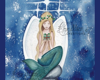 Christmas Angel  Mermaid print from Original Watercolor Painting by Camille Grimshaw