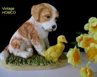 Puppy And Duck Figurine * Vintage HOMCO * Puppy Dog Figurine * Dog Decor