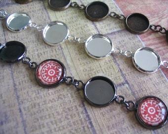 1pc Circle Bezel Bracelet...12mm Bezel Setting... Mix and Match...Antique Brass and Silver