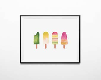 Ice cream art print | Printable, ice cream poster, popsicle, office home kitchen decor, nursery prints, nursery wall art, 8x10, 11x14, A3