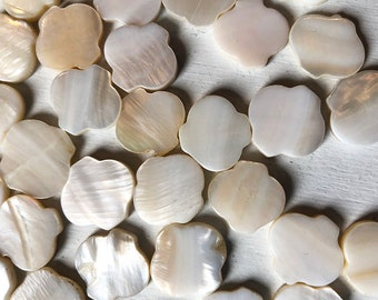 Ivory Mother of Pearl Flat Curvy Floret Beads - 15 x 15mm