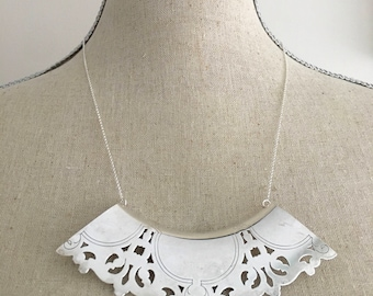 Filigree Necklace, Lace Collar, Peter Pan Collar, Silver Collar Necklace, Large Statement Necklace, Wife Gift, Silverware Necklace