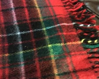 Plaid stadium picnic blanket red 52 x 53 vintage afghan fringed edge romance
