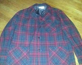 49er Rich Vintage mens 50s tartan plaid Wool Jacket Blazer coat size xl